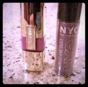 L'Oreal stubborn Plum lip stain & NYC Eye Dust